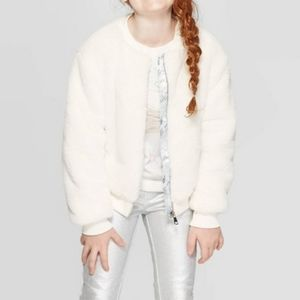 FROZEN 2 Faux Fur White Bomber Disney Jacket